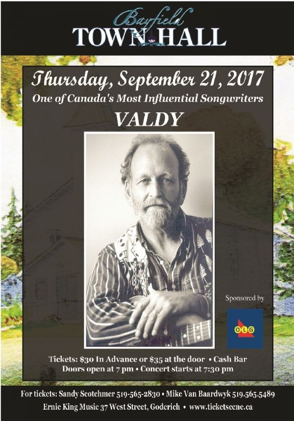 Valdy in Concert at Bayfield Town Hall