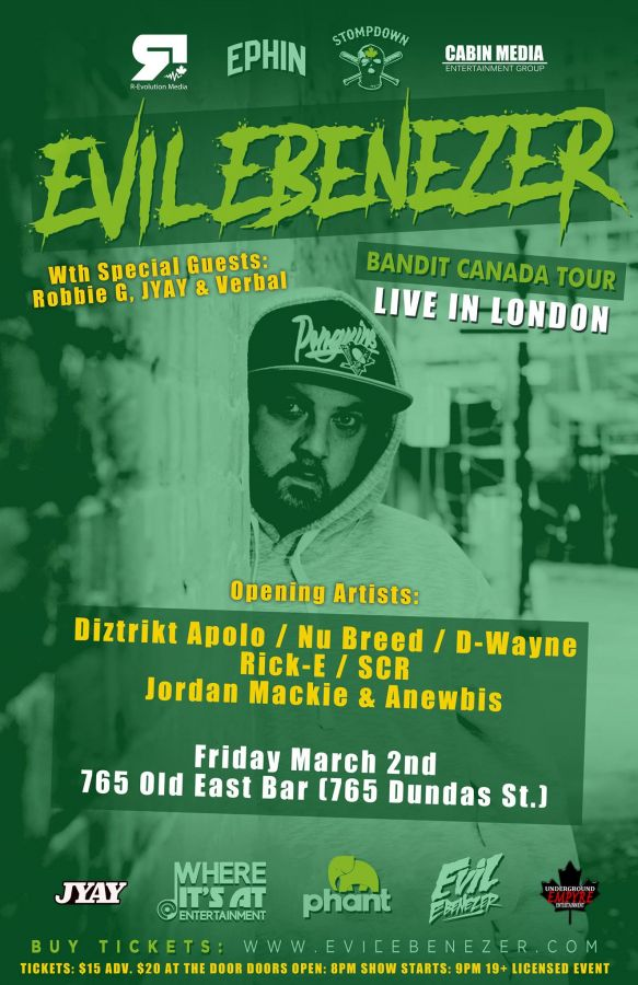 Evil Ebenezer Live in London March 2nd at 765 Old East Bar