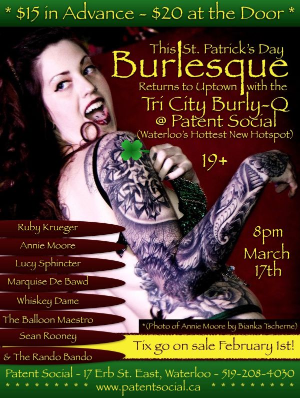 St. Patrick's Day Burlesque @ Patent Social