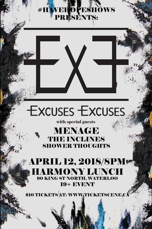 ExcusesExcuses with Menage and More - Waterloo