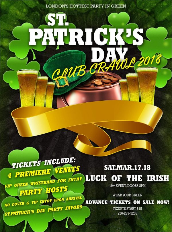 St. Patrick's Day Club/Pub Crawl 2018 London Ontario