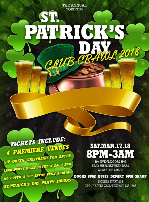 St. Patrick's Day Pub/Club Crawl Toronto 2018|St. Paddy's Day