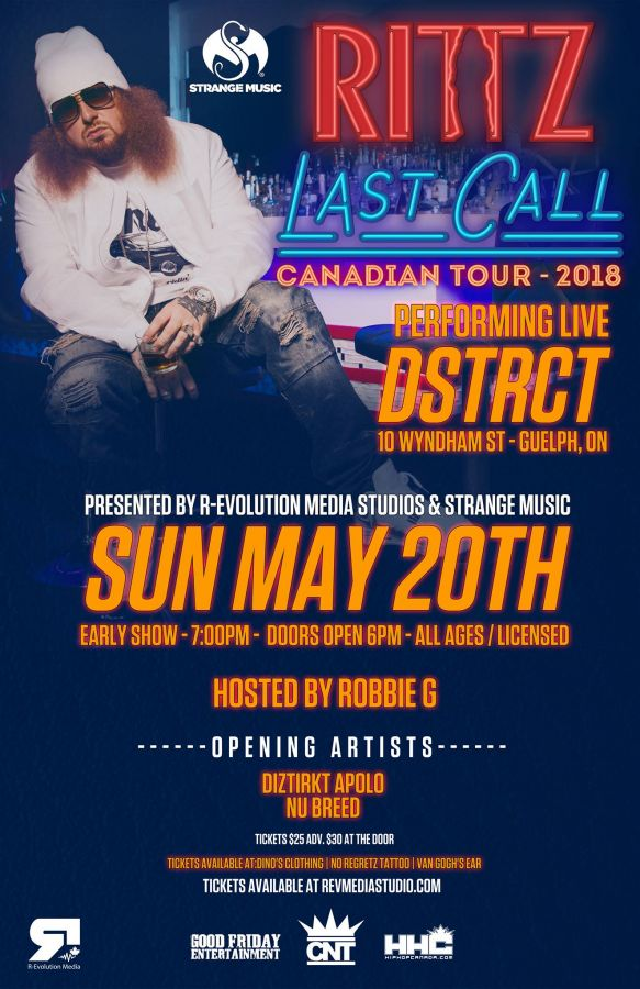 Rittz (Strange Music) Live in Guelph May 20th at DSTRCT