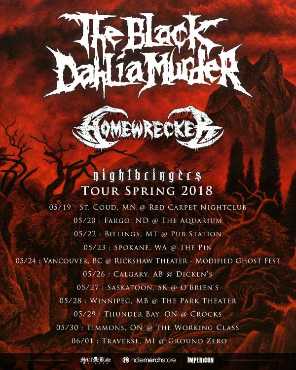 Nightbringers Spring Tour 2018 : The Black Dahlia Murder + Homewrecker