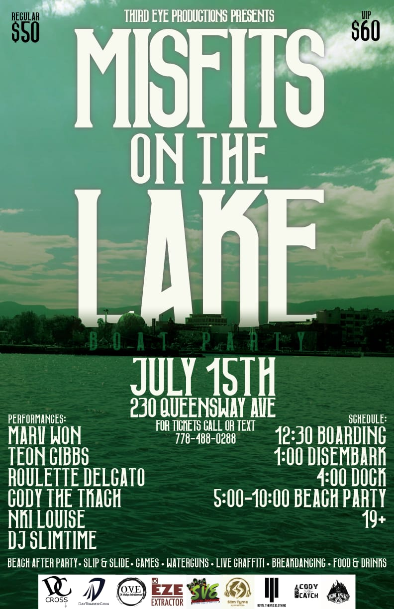 Misfits on the Lake - Kelowna Boat Party - July 15th