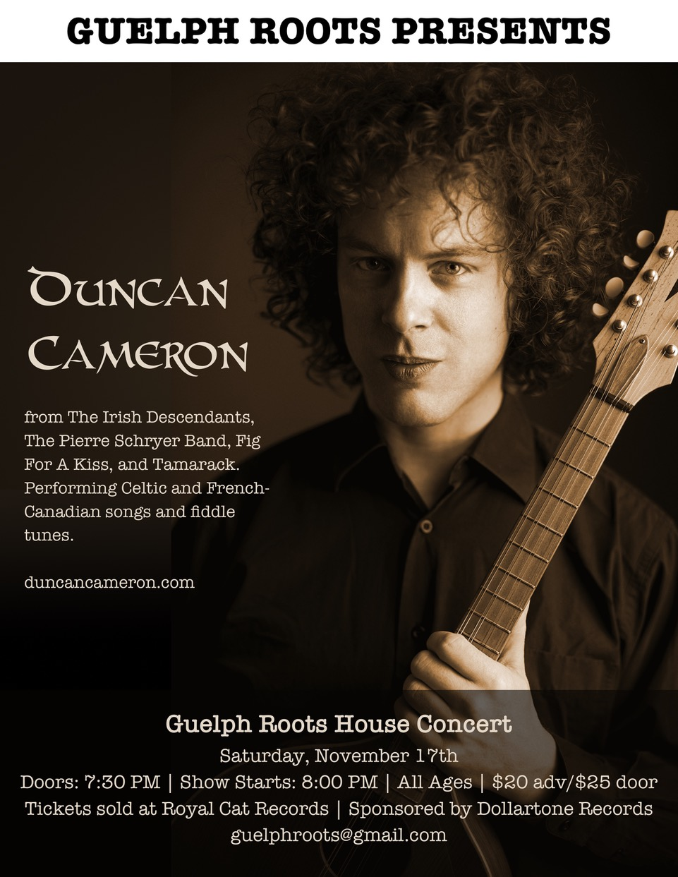 Duncan Cameron, a Guelph Roots presents,