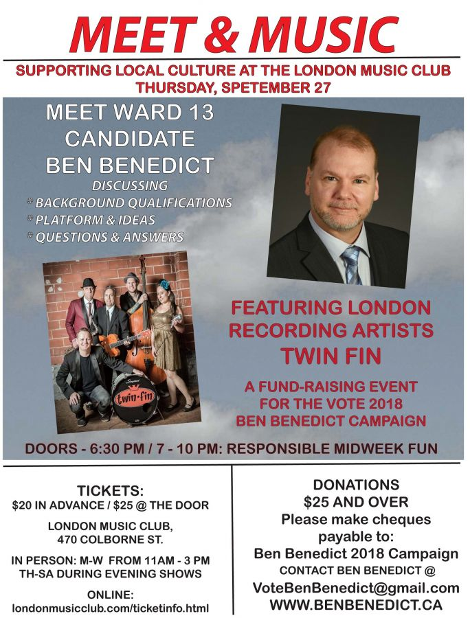 MEET & MUSIC - Supporting Local Culture at the London Music Club - A Fundraising Event for Ward 13 Candidate BEN BENEDICT with music by TWIN FIN.