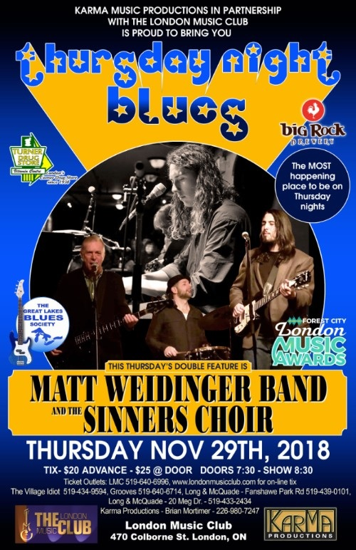 Matt Weidinger and & The Sinners Choir - A Thursday Night Blues Doubleheader!!!