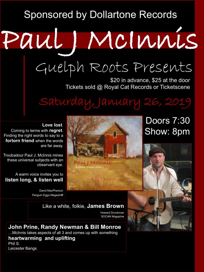 Paul McInnis, a Guelph Roots House Concert presents.