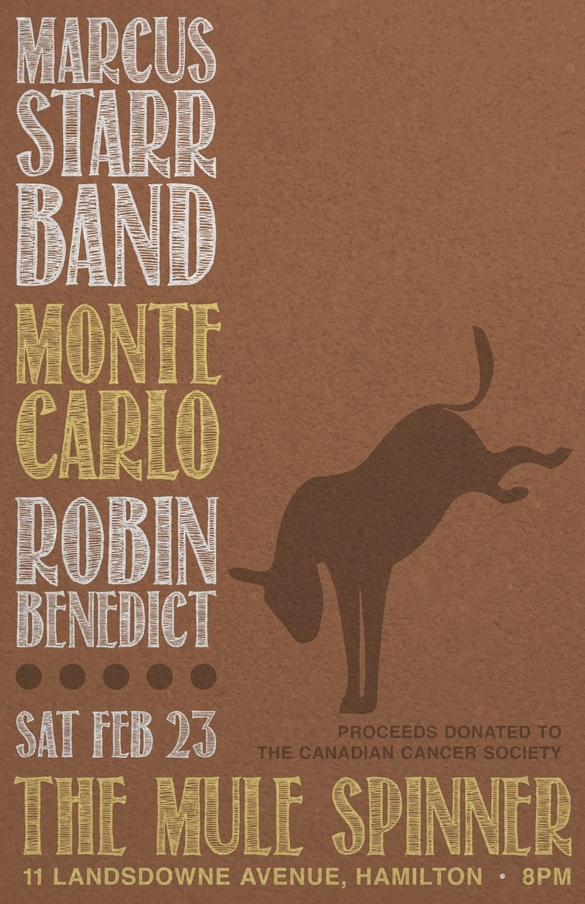Marcus Starr Band, Monte Carlo, Robin Benedict perform live in support of the Canadian Cancer Society.