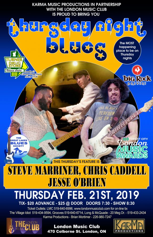 STEVE MARRINER (Monkeyjunk), JESSE O'BRIEN (Colin James Band) & CHRIS CADDELL (Colin James Band) @ LMC!!!