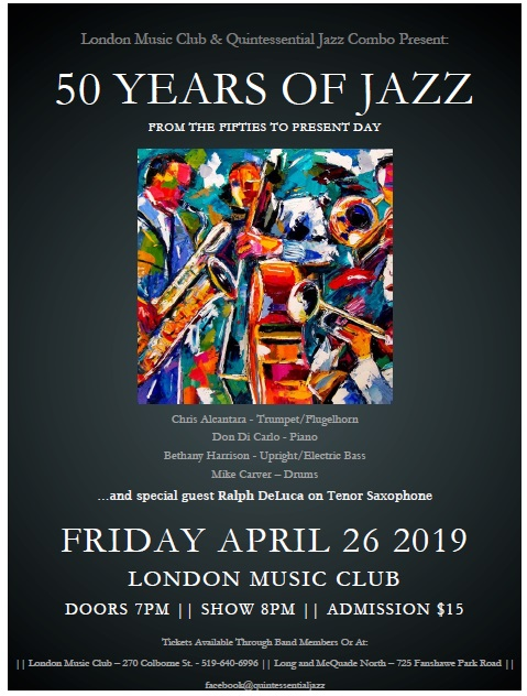 Quintessential Jazz Combo presents 50 Years of Jazz!!!