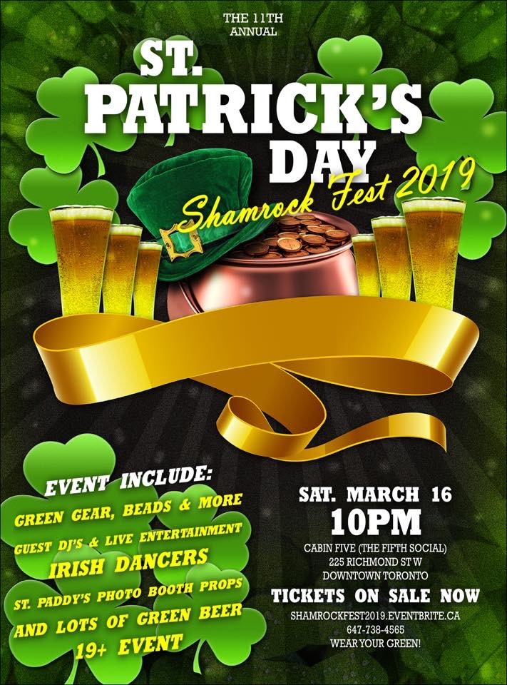 Shamrock Fest Party Toronto St.Patricks Day Party 2019| Cabin Five (The Fifth Social)