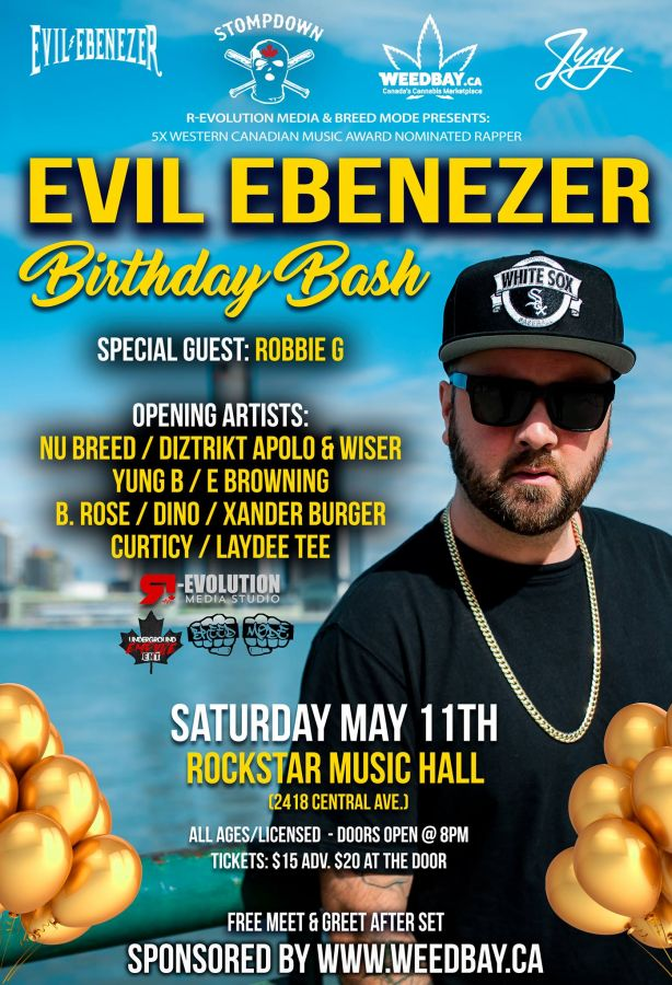 Evil Ebenezer SDK Birthday Bash live in Windsor May 11th at RockStar Music Hall