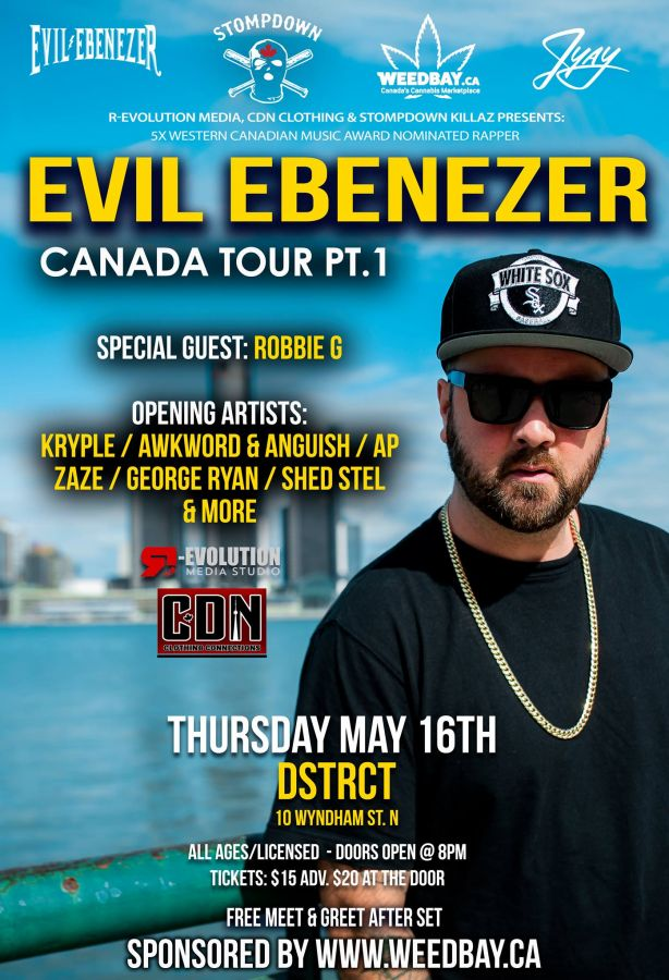 Evil Ebenezer SDK Live in Guelph May 16th at DSTRCT with Robbie G