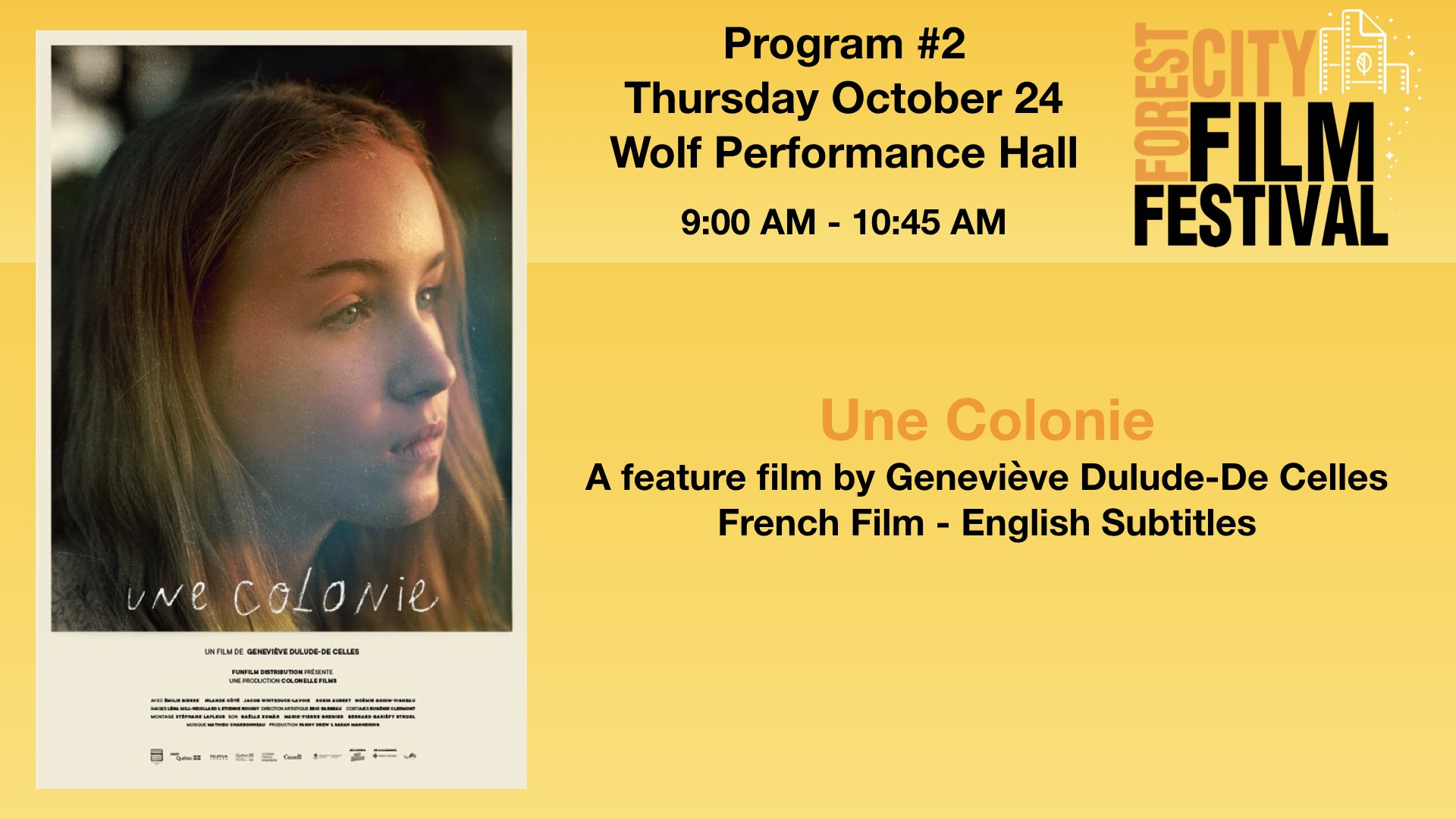 FCFF 2019 - Thursday Morning at Wolf Program #2  - Une Colonie (French Screening)