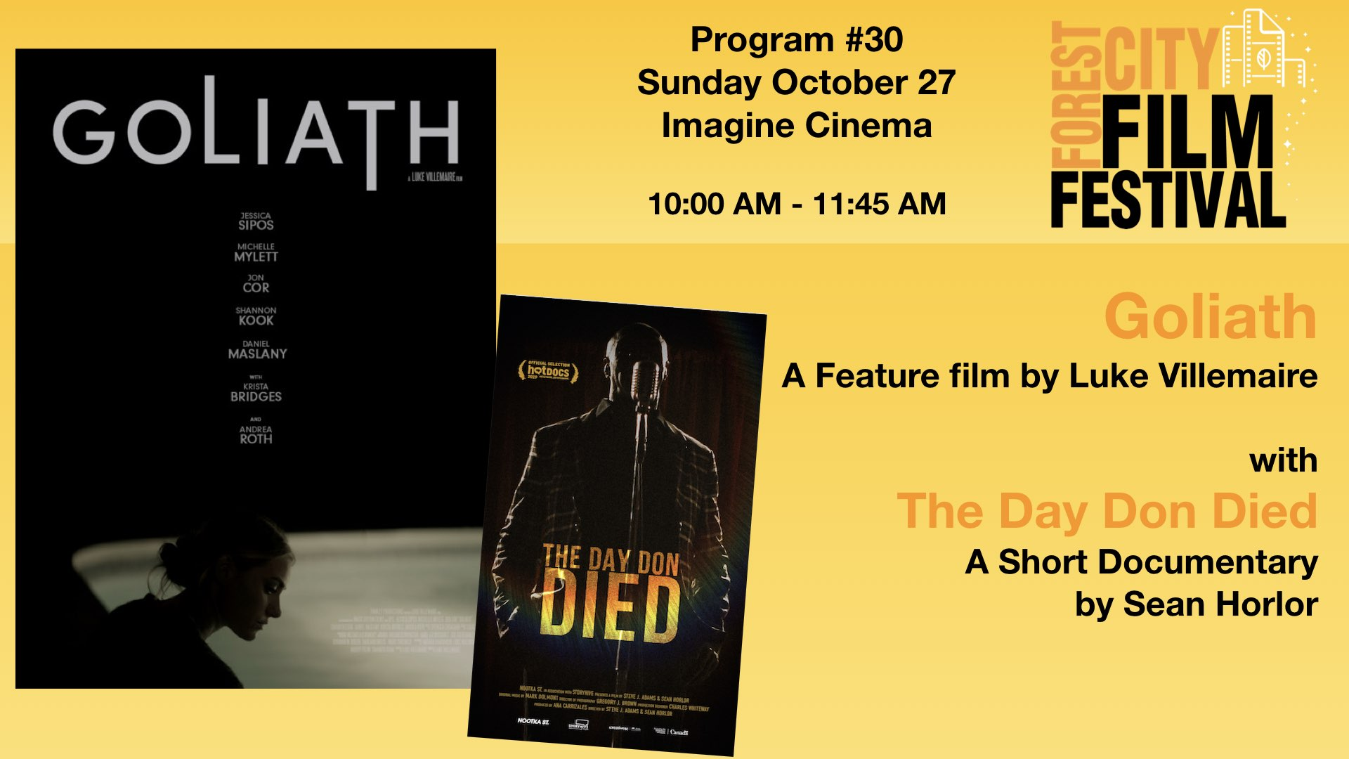 FCFF 2019 - Sunday Morning at Imagine Program #30 - Goliath with The Day Don Died