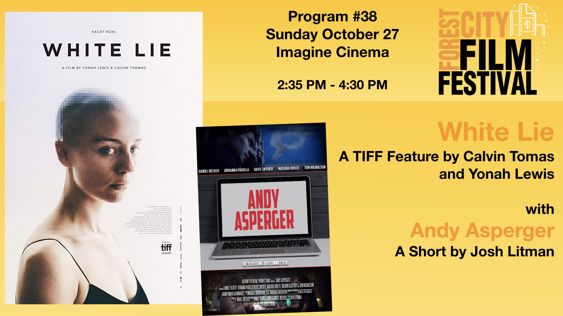 FCFF 2019 - Sunday Late Afternoon at Imagine Program #38 - White Lie and Andy Asperger
