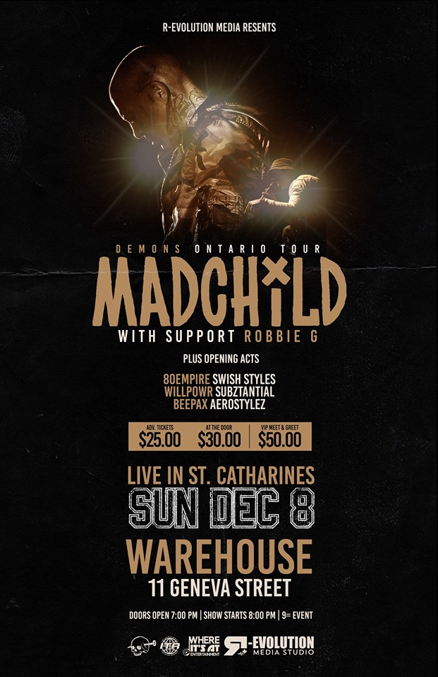 Madchild live in St. Catharines Dec 8th at Warehouse