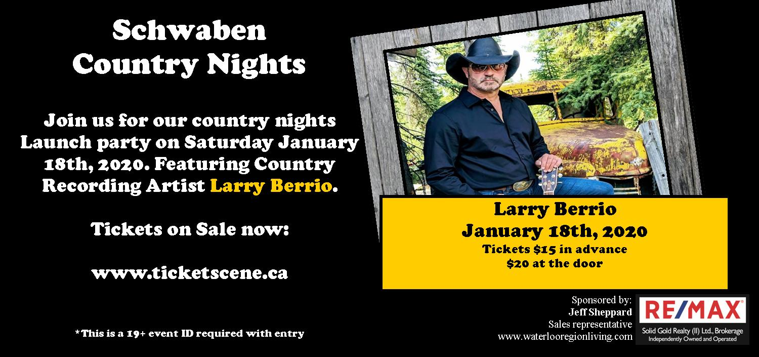 Schwaben Club Country Nights Launch Featuring Larry Berrio