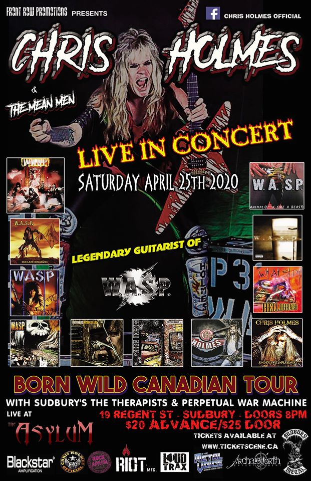 W.A.S.P's Chris Holmes & The Mean Men live in Sudbury - General Admission Ticket
