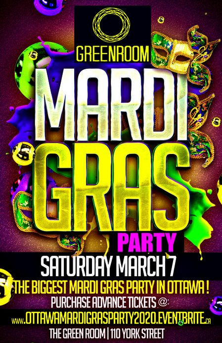 OTTAWA MARDI GRAS PARTY 2020  @ THE GREEN ROOM | OFFICIAL MEGA PARTY!