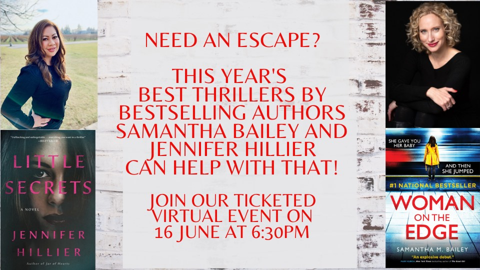 Virtual Event: Samantha Bailey and Jennifer Hillier in conversation with Bianca Marais