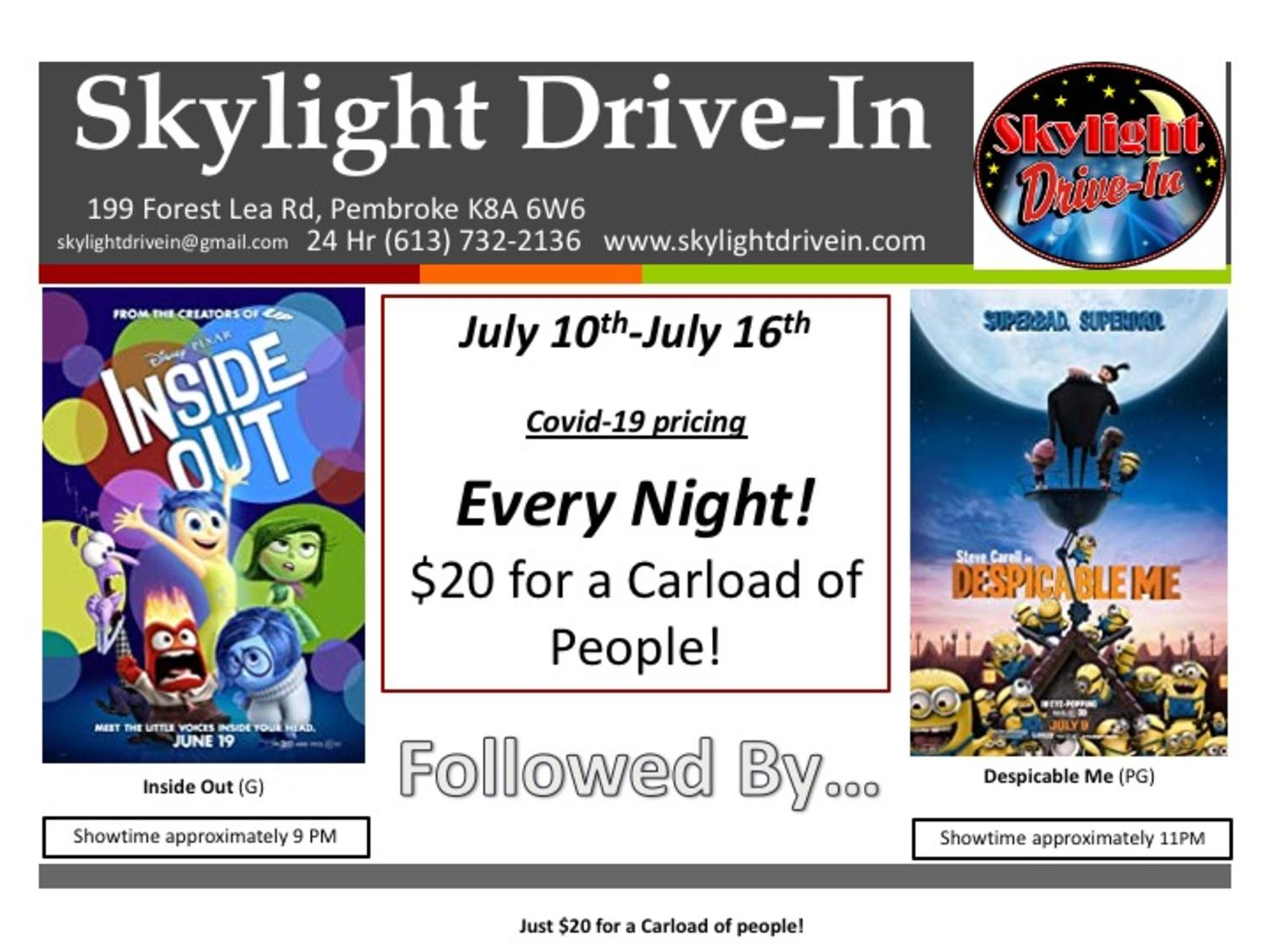 Skylight Drive-In featuring Inside Out followed by Despicable Me