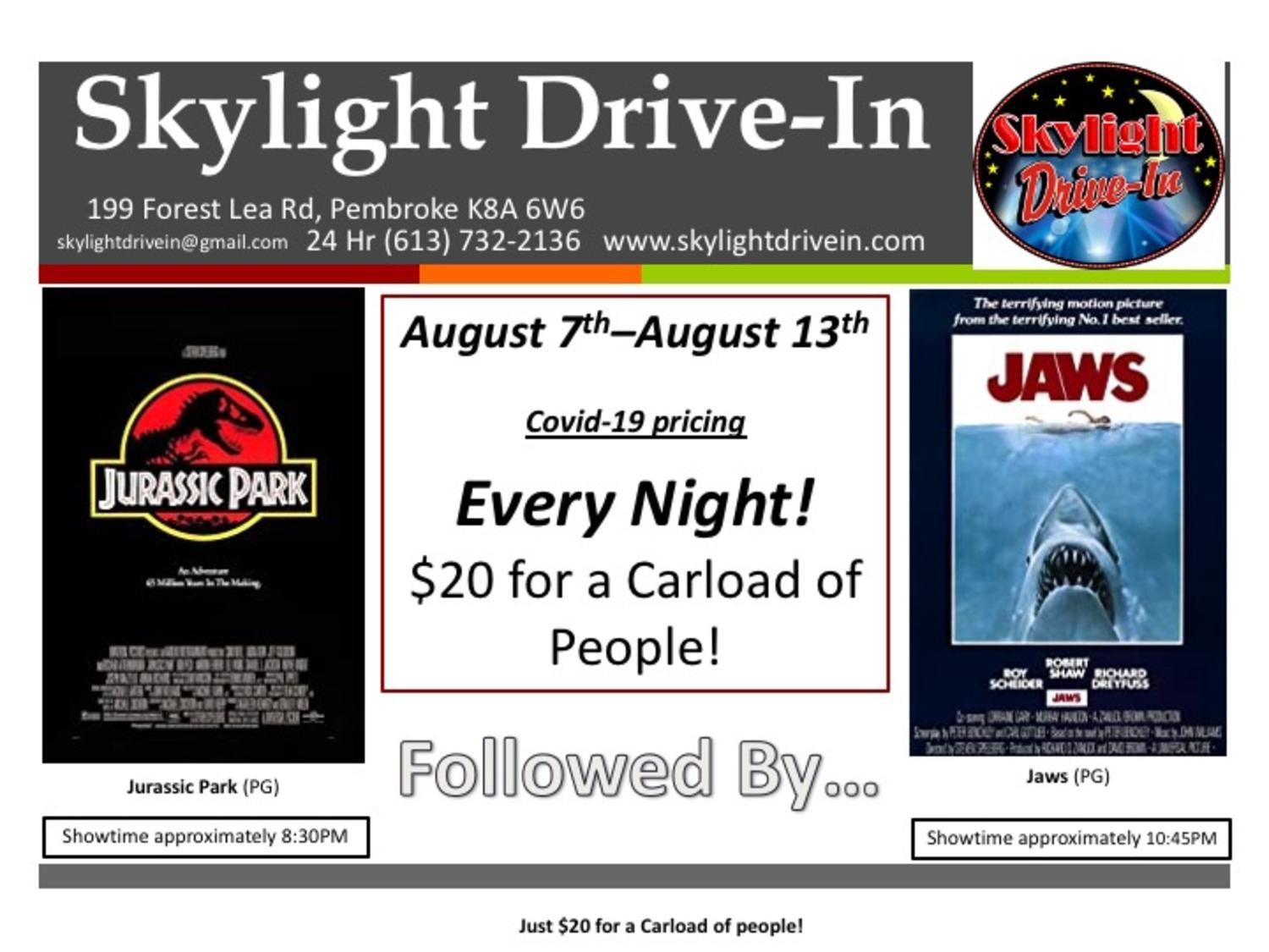 Skylight Drive-In featuring Jurassic Park followed by Jaws