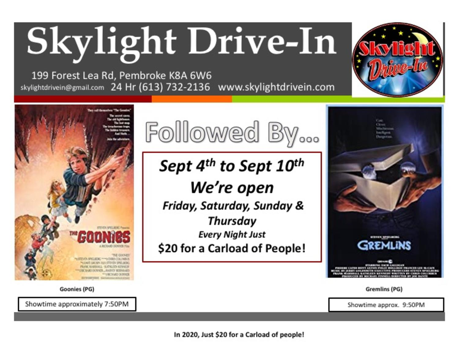 Skylight Drive-In - The Goonies followed by Gremlins