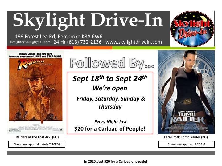 Skylight Drive-In; Raiders of the Lost Ark Followed By Lara Croft: Tomb Raider