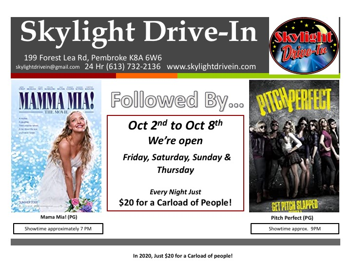 Skylight Drive-In; Mama Mia! Followed by Pitch Perfect