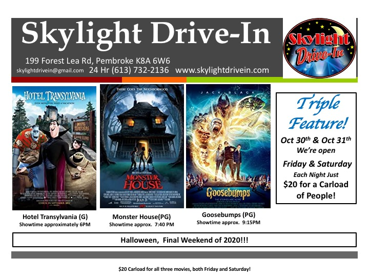 Halloween Tripple Feature! $20 a carload!   Hotel Transylvania, Monster House and Goosebumps